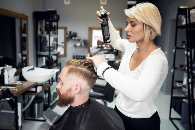 Man in barbershop Free Photo