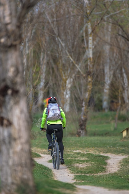 Man on bike crossing the path of a forest Premium Photo