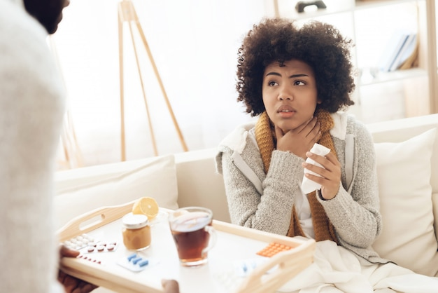 woman having cough and catarrh