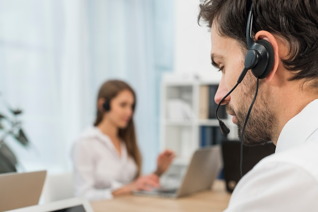 Man in call center Free Photo