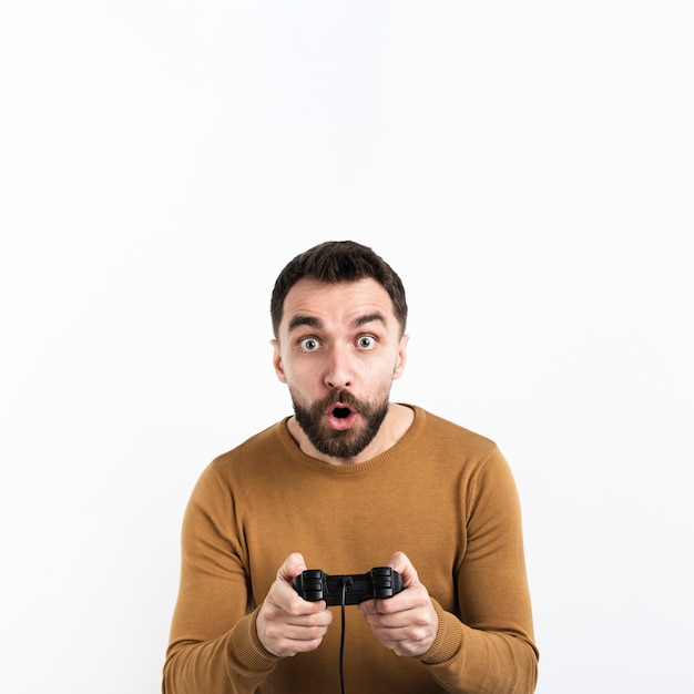 Man captivated by game Free Photo