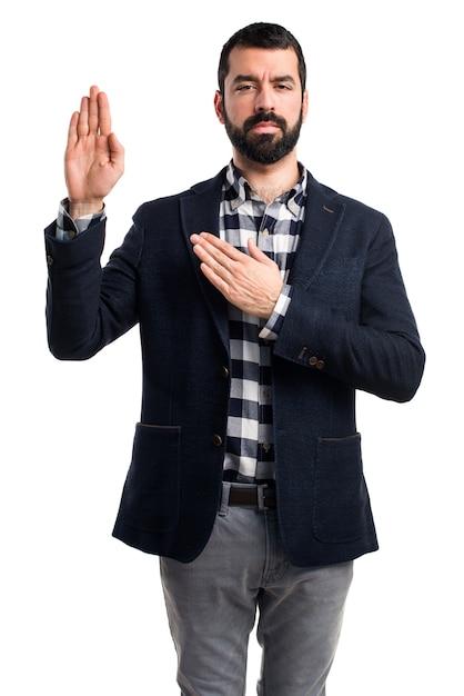 Man doing oath Free Photo