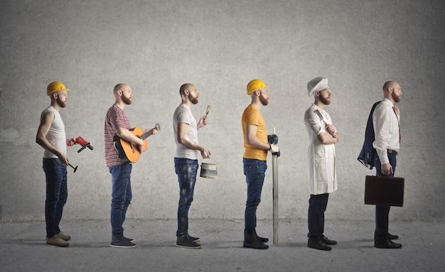 Man dressed in different professions Premium Photo