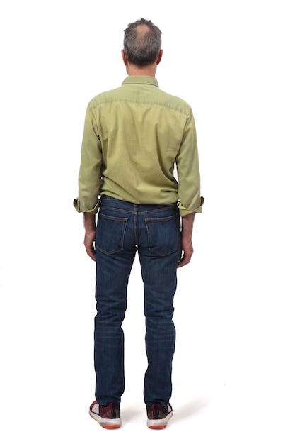 Man dressed with  jeans isolated on white Premium Photo