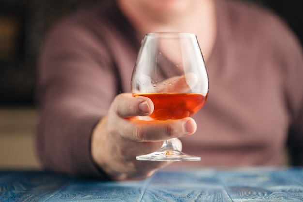 Man drinking malt whisky in relax time Premium Photo