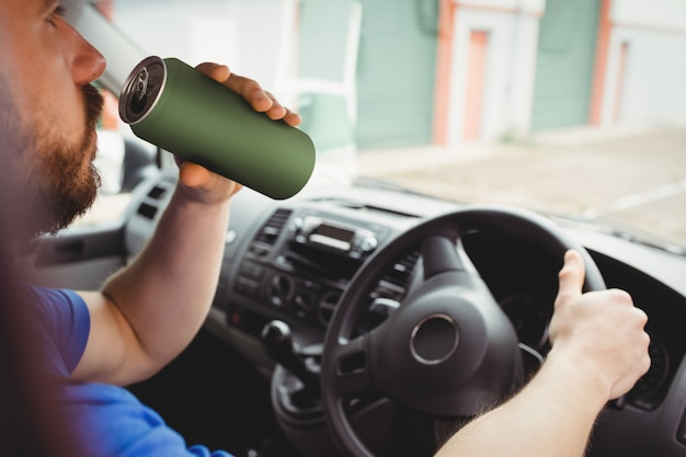 Man driving his van while drunk Premium Photo