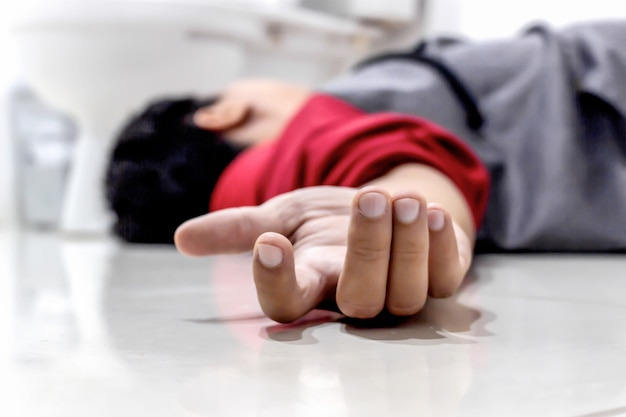 man falling in the bathroom because the cerebrovascular accident or