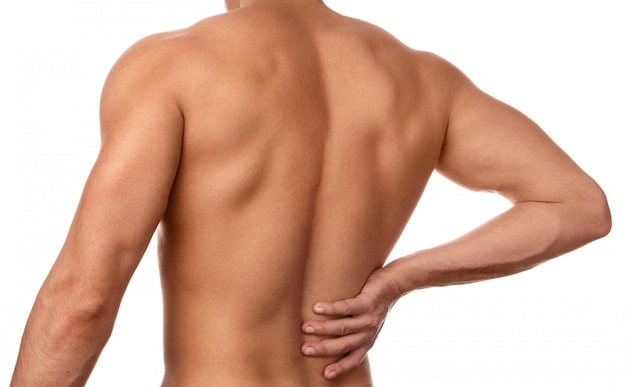 Man feels pain in the small of the back Premium Photo