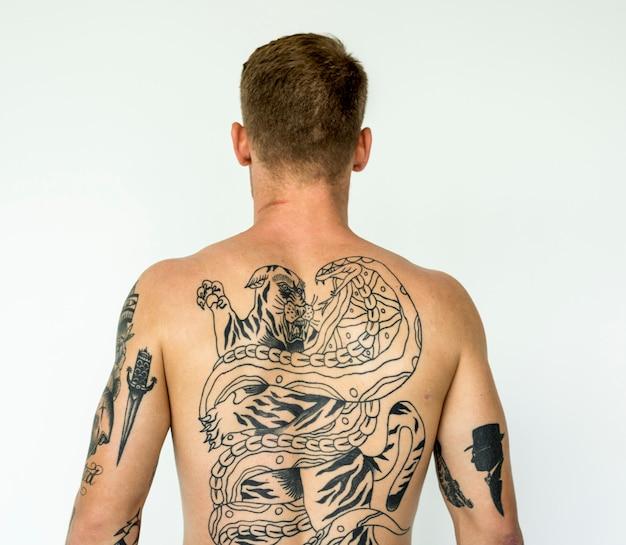 A man full of tattoos Premium Photo