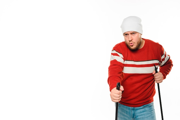 Man getting ready for winter sports Free Photo