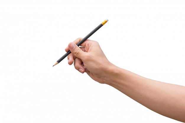 Man hand holding a pencil isolated on white background Premium Photo