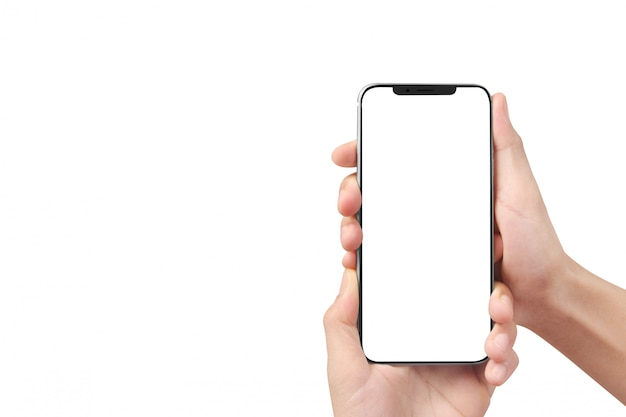 Man hand holding smartphone device and touching screen Premium Photo