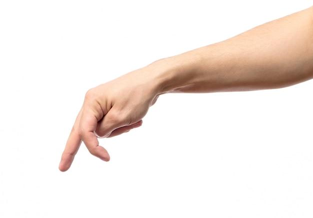 誰かが歩いたり、実行しているをシミュレートする指で男の手 Premium写真