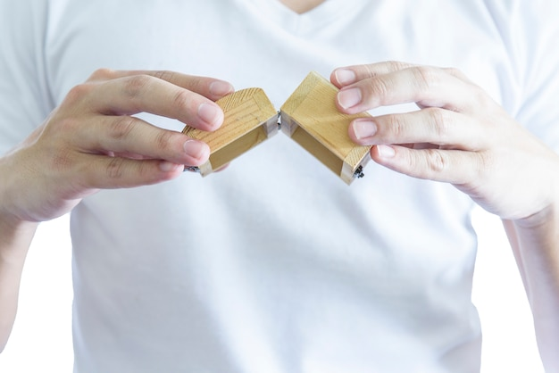 Man has give a surprise present with empty wooden treasure. Premium Photo