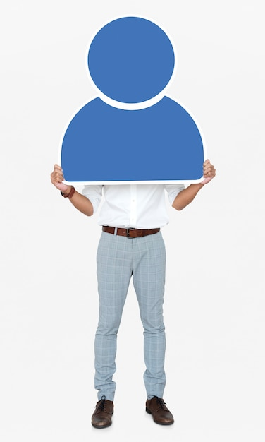 Man holding a blue user icon Premium Photo