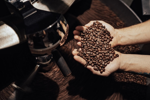 Man holding coffee beans Premium Photo