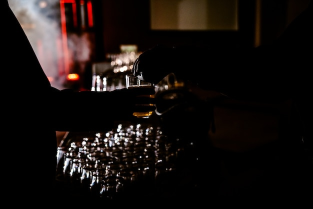 Man holding a drink glass while a waiter helps him, backlight with black background. Premium Photo