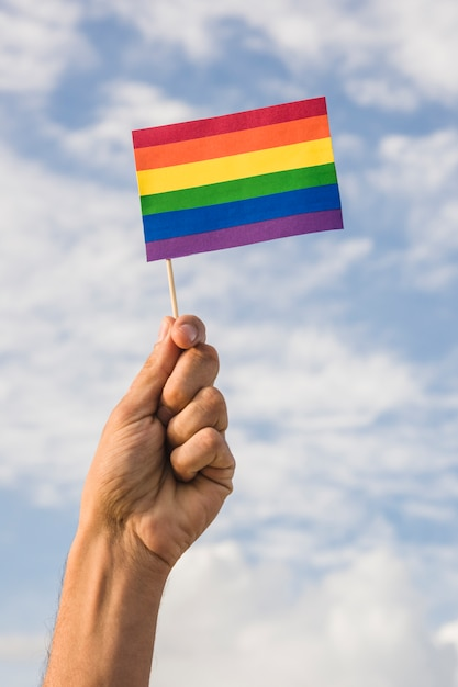Man holding flag in lgbt colors and blue sky Free Photo