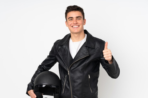 Man holding a motorcycle helmet isolated on white Premium Photo