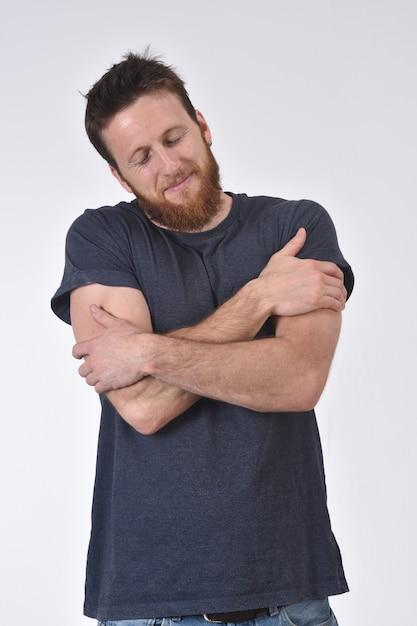 Man hugging on white Premium Photo