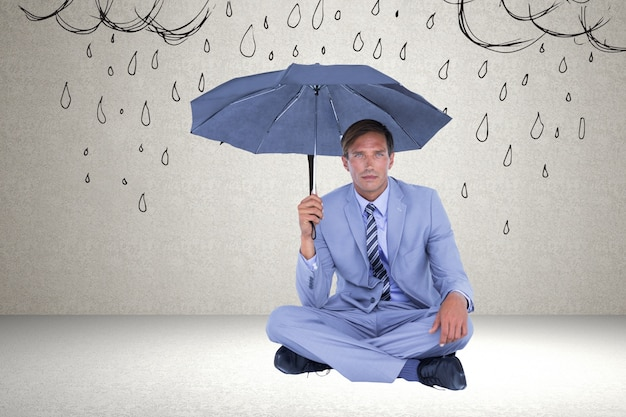 man in suit and an umbrella photo free download