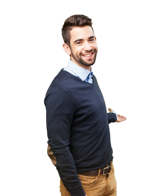 Man Inviting To Enter Photo Free Download