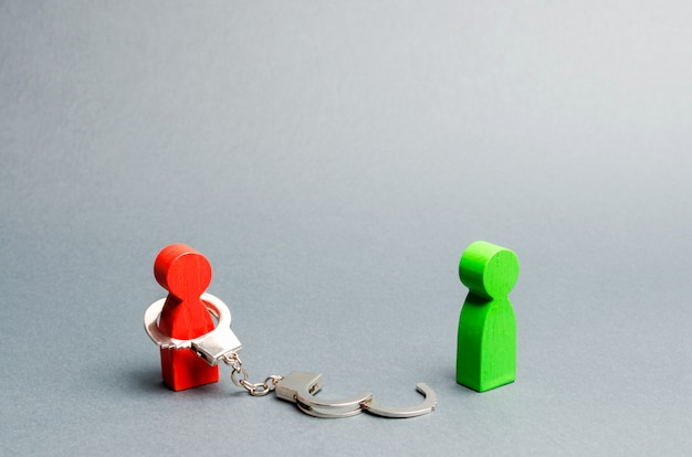 A man is bound by handcuffs Premium Photo