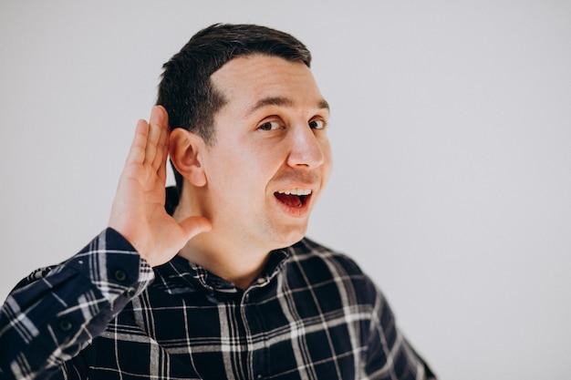 分離された顔の感情を示す男 無料写真