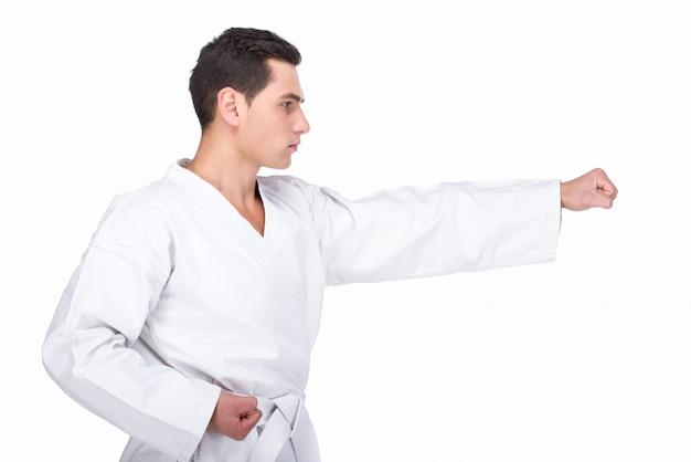 Man in a kimono doing a karate punch Premium Photo