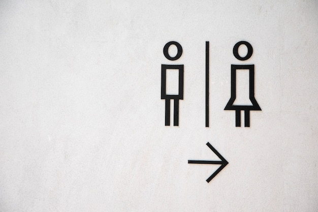 Man and lady toilet sign on white concrete wall background Premium Photo