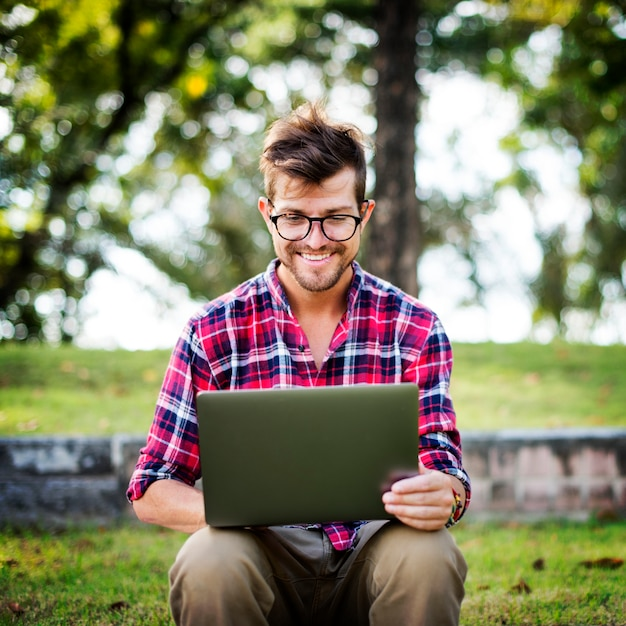 Man laptop browsing searching social networking technology concept Premium Photo