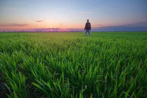 Человек смотрит на небо / яркий весенний пейзаж Premium Фотографии