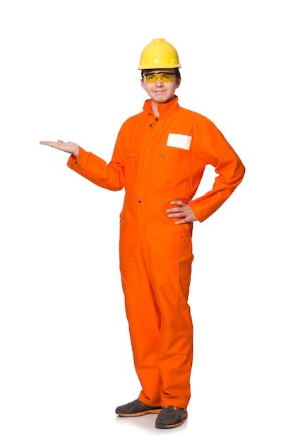 Man in orange coveralls isolated on white Premium Photo