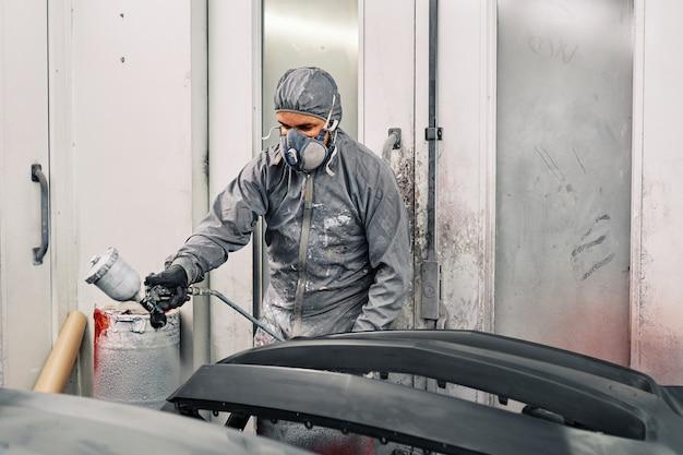Premium Photo | A man painting a car