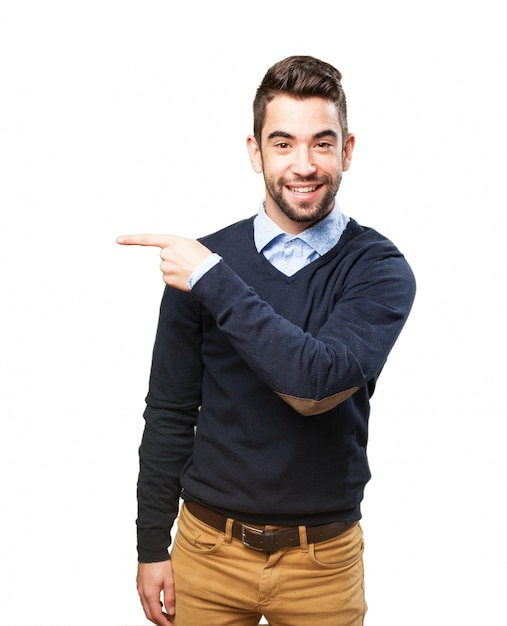 Man pointing to his left Free Photo
