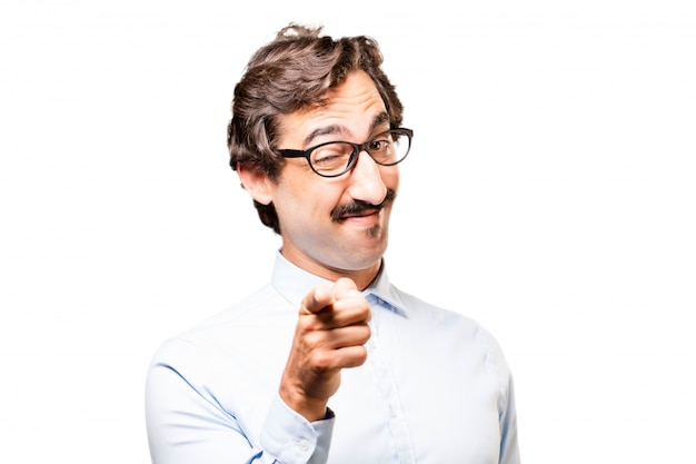 Man pointing with glasses Free Photo