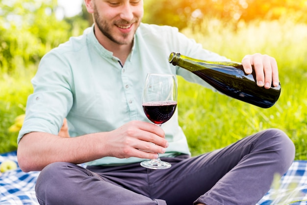 Man pouring wine into glass on picnic Free Photo
