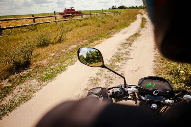 Man riding motorcycle on off road Free Photo