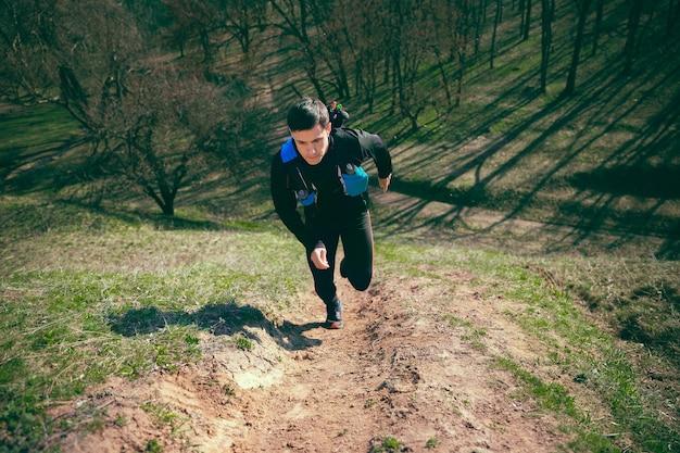 木に対して公園や森を走っている男 無料写真