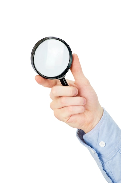 Premium Photo Man S Hand Holding Magnifying Glass