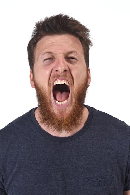 Man screaming on white Premium Photo
