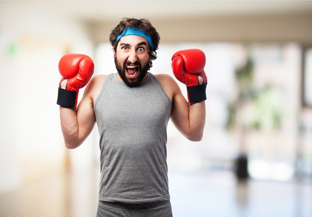Man screaming with boxer globes Free Photo