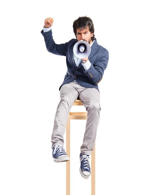 Man shouting over isolated white background Free Photo