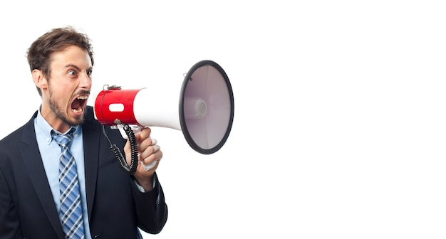 Man shouting through a megaphone Photo | Free Download
