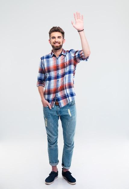 절연 인사 제스처를 보여주는 남자 프리미엄 사진