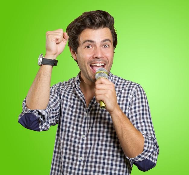 Man singing in karaoke Premium Photo