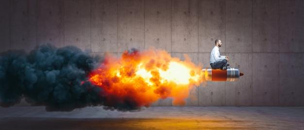 화염과 연기와 함께 로켓에 앉아 남자. 성공과 결정의 개념. 프리미엄 사진