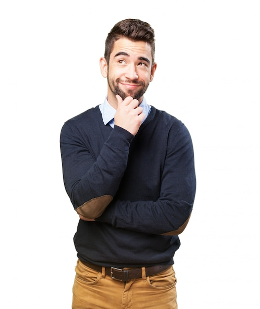 Man smiling with an idea Free Photo