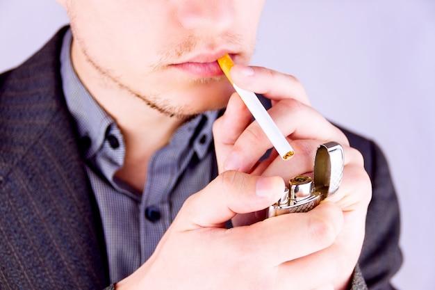 Man smoking a cigarette Premium Photo