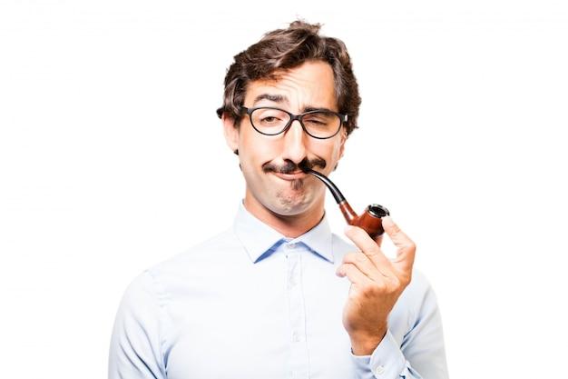 Man smoking a pipe Free Photo